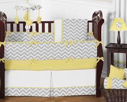 gray and yellow chevron zig zag baby