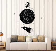 Amazon Com Designtorefine Vinyl Wall Decal Space Rocket Astronaut Moon Stars Children S Room Stickers Large Decor 1106ig Dark Red Home Kitchen
