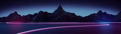 3840x1080 synthwave landscape
