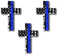 Decals By Haley 3 Pack Of Thin Blue Line Cross Decals Police Officer Blm American Flag Vinyl Decal Sticker Car Truck Wish