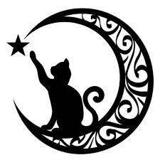 Cute Cat Touching Star Moon Vinyl Decal Laptop Sticker Art Car Window Bumper Decoration Animals Pattern Wish