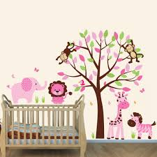 Pink And Brown Jungle Murals For Kids Rooms With Elephant Wall Stickers For Girls Rooms