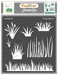 Craftreat Grass Stencils For Wall Painting Grass 6x6 Inches Reusable Diy Stencils For Making Cards Grass Stencil Painting On Fabric Scenery Stencils For Art Painting Amazon In Home Kitchen