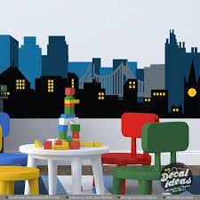 City Skyline Wall Decal Gotham City Wall Decal Batman Etsy