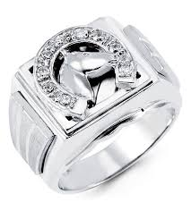 mens 14k white gold round cz horse head