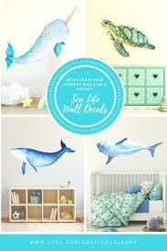 Baby Narwhal Wall Decal Sticker Ocean Sea Unicorn Nautical Etsy Wall Decals Kid Room Decor Nautical Nursery Room