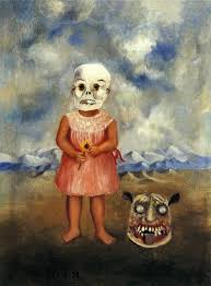 Kahlo - Niña con mascara de muerte (Ella juega sola) Óleo ...
