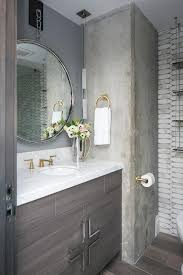 hanging mirror with gray washstand