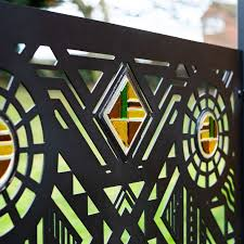 Art Deco Design Patio Screen Or Fence Panel With Glass Inserts