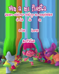 Invitacion De Cumpleanos De Trolls Invitacion Cumpleanos Nino