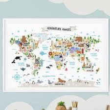 Kids World Map Poster Animal World Map Playroom Wall Decor Etsy