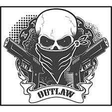 Amazon Com Ew Designs Cool Gray Outlaw Cowboy Bandit Skull Guns Cartoon Icon Vinyl Decal Bumper Sticker 4 Wide 8 Kitchen Dining