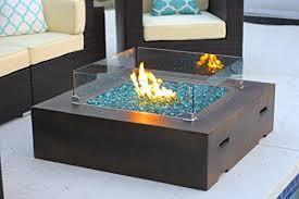 square modern concrete fire pit table w
