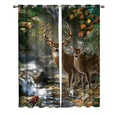 Forest Deer Stream Natural Scenery Window Curtains Living Room Bathroom Outdoor Bedroom Floral Kids Curtain Panels With Grommets Curtains Aliexpress