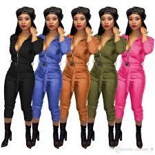 2020 women leather jumpsuit romper