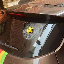 3d Funny Auto Ball Broken Glass Window Decal The Decal House