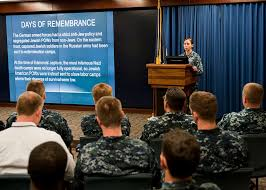 Cryptologic Technician (Networks) 1st Class Priscilla Morris addresses  military and civilian personnel during U.S. Fleet Cyber Command/U.S. Tenth  Fleet's Holocaust Remembrance ceremony - PICRYL Public Domain Image