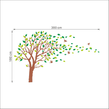 Large Brown And Green Tree Blowing In The Wind Tree Wall Decals Wall Sticker Vinyl Art Kids Rooms Teen Girls Boys Wallpaper Murals Sticker Wall Stickers Nursery Decor Nursery Decals 180cmx287cm