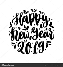 hand drawing quote happy new year trendy calligraphic style