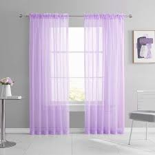 Amazon Com Keqiaosuocai 2 Pack Rod Pocket Kids Room Sheer Light Purple Curtains Lilac Lavender Transparent Sheer Voile Panels For Bedroom Living Room Wedding Party Backdrop Each Is 52w X 84l Kitchen