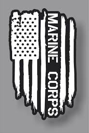 Usmc Marine Corps Veteran American Flag Sticker Decal Firehouse Graphics