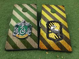 2 Houses Of Hogwarts On Your Choice Gryffindor Ravenclaw Hufflepuff Slytherin Cornhole Board Game Decal Vinyl