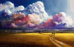 field clouds trees flowers birds
