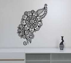 Mehndi Wall Sticker Henna Paisley Flowers Vinyl Decal Floral Pattern Ornament Art Decorations For Home Wall Stickers Wall Stickers Bedroom Wall Stickers Brick