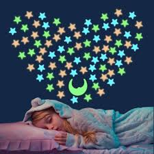 Amazon Com Fluorescent Stars Celling Decals Wall Stickers Glow In The Dark 150 Stars And A Moon Decor Plastic Star Removable Murals Decals For Ceiling Kid S Room Wall Bedroom Decorations Kitchen