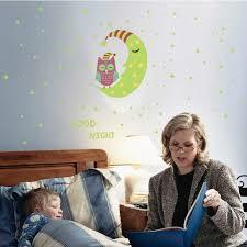 Owl Moon Stars Luminous Wall Sticker Kids Room Bedroom Glow In The Dark Decoration Home Decals Fluorescent Door Stickers Wall Stickers Aliexpress