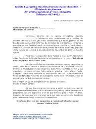 Cantata Juvenil Carta De Invitacion Para Las Iglesias