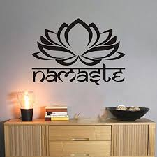 Amazon Com Moharwall Mandala Wall Decal Lotus Namaste Bedroom Sticker Vinyl Yoga Studio Religion Art Decor Home Kitchen