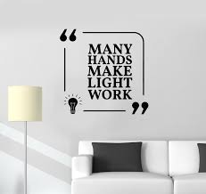 Vinyl Wall Decal Office Quote Teamwork Light Work Space Stickers Mural Wallstickers4you