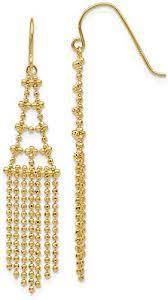 14k yellow gold beaded drop dangle