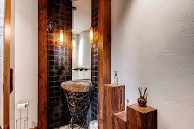powder room corner bathroom sink rustic