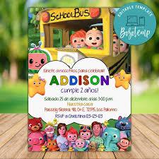 Invitacion A Fiesta De Cocomelon Editable Descarga Instantanea