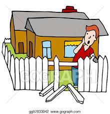Eps Vector Broken Fence Stock Clipart Illustration Gg57833042 Gograph
