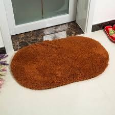 Sunsky Faux Fur Rug Anti Slip Solid Bath Carpet Kids Room Door Mats Oval Bedroom Living Room Rugs Size 40x60cm Coffee