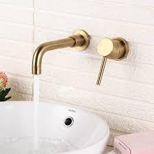chrome brass bathroom sink faucet wall