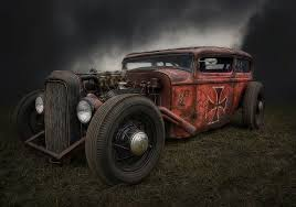 red vehicle retro hot rod rat rod