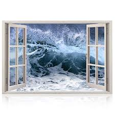 Realistic Wave Window Wall Decal Peel And Stick Nautical Decor For Living Room Bedroom Office Playroom Storm Wall Murals Removable Window Frame Style Ocean Wall Art Vinyl Poster Wall Stickers Wantitall