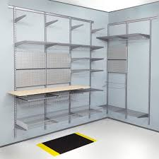 top track wall mounted shelving silver