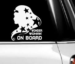 Amazon Com Wonder Woman On Board Wall Or Window Decal 6 X 8 Everything Else