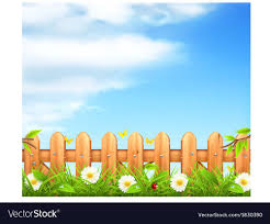 Spring Background Grass And Wooden Fence Vector Image On Vectorstock Nature Vector Spring Background Vector Background
