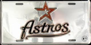 Houston Astros Car Truck Tag Chrome License Plate Metal Sign Man Cave My Team Depot