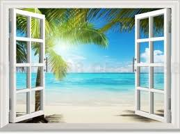 Large Sunshine Beach Palm Tree 3d Window View Removable Wall Decals St Idecoroom