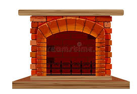 the old brick fireplace stock vector