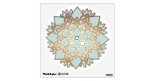 Light Blue And Gold Lotus Flower Wall Decal Zazzle Com
