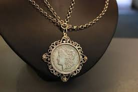 silver necklace with 1 dollar 1921