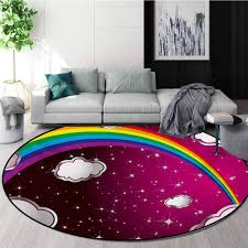 Amazon Com Rugsmat Cartoon Round Area Rugs Rainbow Image With Colors Star Like Details For Kids Nursery Room Artwork Super Soft Living Room Bedroom Home Shaggy Carpet Diameter 47 Inch Maroon And White Home Kitchen